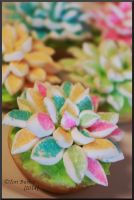 Flower Cupcakes by WorldWar-Tori