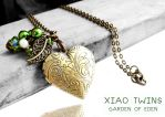 SOLD GARDEN OF EDEN - Bronze Heart Locket Necklace by crystaland