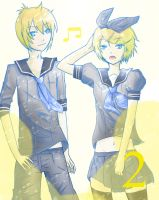 Kagamine Rin + Len in Uniform by ShyBlu
