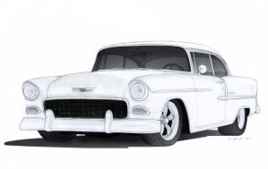 1955 Chevrolet Bel Air Drawing by Vertualissimo