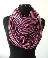 Infinity Scarf - Pink and Black stripes - Cotton J by LiliaVanini