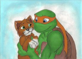 TMNT Mikey and Klunk by zimaro