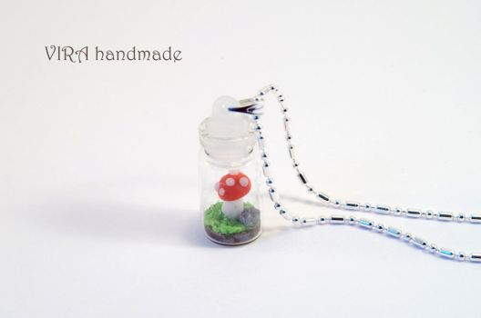 Tiny mushroom in a bottle necklace by virahandmade
