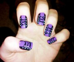 Purple corset nails by Chelseapoops