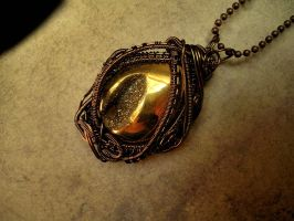 Bronze Wire Wrapped - Golden Druzi Pendant by LadyPirotessa