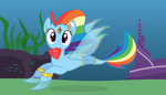 Hearts and Fishtails (Rainbow Dash Solo) by Parcly-Taxel