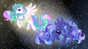 Celestia and Luna Free Desktop Background by AnScathMarcach
