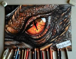 Smaug eye drawing by Bajanoski