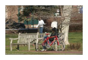 Man with red Bicycle by kingkool6