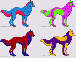 Free Bicolor Wolf Adoptables -Closed- by Alexa1501
