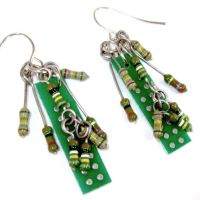 Circuit Boards and Electronic Resistor Earrings by Techcycle