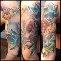 Tattoo - skull and lotus flowers by Xenija88