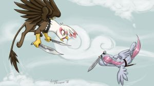 Aerial Duel by lunarapologist