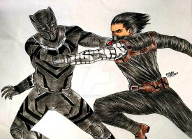 Black Panther vs The Winter Soldier - CIVIL WAR by RedWing99