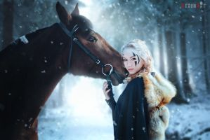 The girl with a horse in the winter forest by VeroNArt