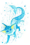 Vaporeon Showers by ColorMyMemory