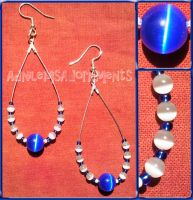 Cobalt Blue Cats Eye Teardrop Earrings by RavingEagleMedia