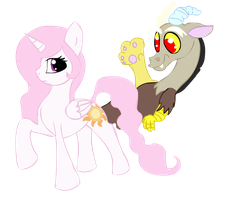 Celestia and Discord by MochiFries