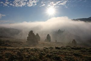 Sunburst Over Foggy Red Rock Lakes Valley by Kippenwolf