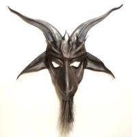 Baphomet Leather Mask stripey beard by Teonova by teonova
