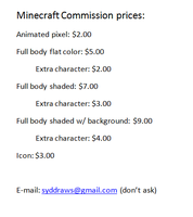 Minecraft Money Commissions by TheSydnieT