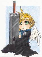 Cloud Chibi love his old sword by WingsOfKaviel