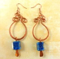 Solid Copper Hand Formed Link Blue Pillow Earrings by DryGulchJewelry