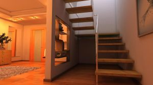 Interior with a stairway 3 by Ultrarender