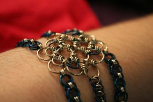 blue multi chain bracelet-arm by laru-dur