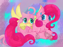 Fluttershy and Pinkie by TalentlessKitty