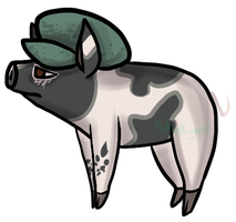 :AT: Cute pig with Fancy Hat by Skull-gum
