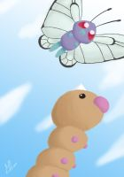 012-013 Butterfree Weedle by EpicEra