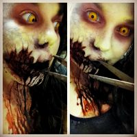 Better shot of Evil Dead 2013 makeup by Kabuki-Bunny