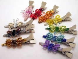 Rainbow Butterflies HairPins by pinkythepink