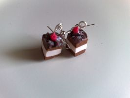 Mini Black Forest earrings by PinkCakes