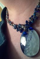 Blue Beaded Chain and Glass Pendant by ulfchild