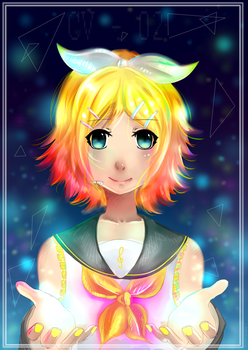Kagamine Rin (with colored lights) by furabi-san