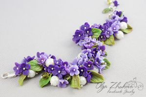 UntitledJewelry set with lilac flowers from polyme by polyflowers