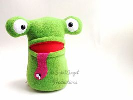 Stuffed Green Frog Plush, with Pocket Mouth by Saint-Angel