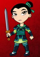 Battle Armor Mulan Chibi - ACEO by NikkiWardArt