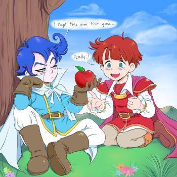 Prince Richard offer Prince Sable an apple by Thespywholovedyou