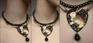 Emerald pearl Rabbit necklace by Pinkabsinthe