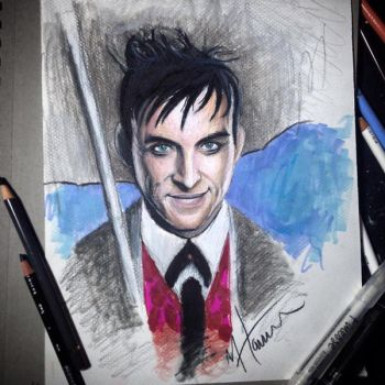 Stylized drawing of RobinLordTaylor as The Penguin by MacHammac