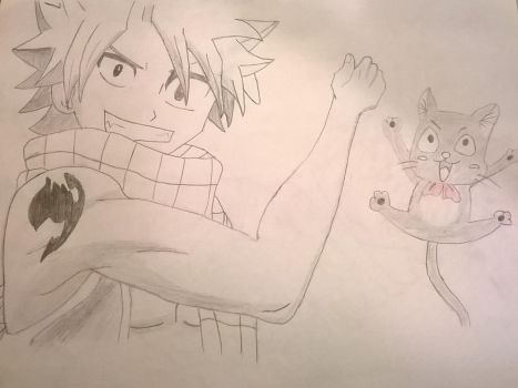 Natsu Dragneel and Happy by Arcobaleno1425M