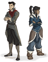 Mako and Korra by aerettberg