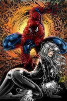 Spidey and Black Cat by MIKE by huismijt