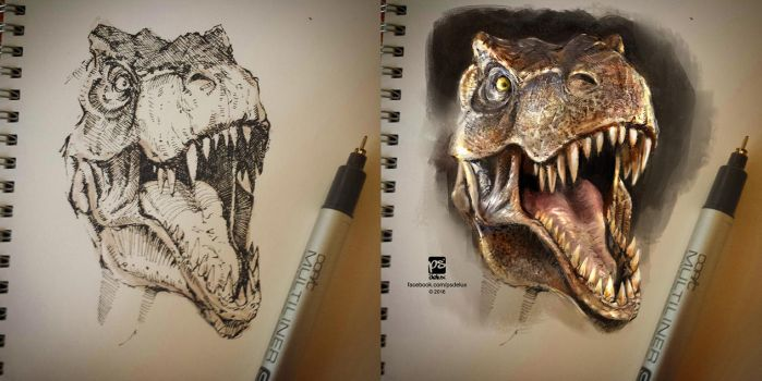 T-Rex sketch on paper + PS colors by psdeluxe