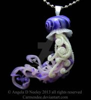 Dark Purple Jellyfish Pendant by carmendee