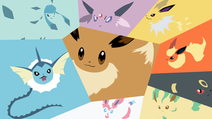 Minimalistic Eevee evolution wallpaper by Browniehooves