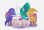 dino tea party by tinysnail